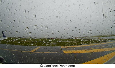 BOSTON - SEP. 06, 2017: The plane expects to depart at the...