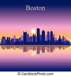 boston, silhouette horizon, fond, ville