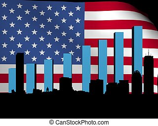 Boston skyline and graph over flag