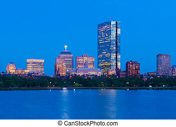 Boston skyline at dusk. Office buildings in Back Bay. Urban panorama in the evening. Massachusetts, USA