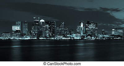 Boston skyline by night from East Boston, Massachusetts