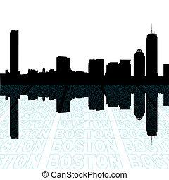 boston, skyline, com, perspectiva, texto, esboço, primeiro...