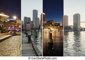 Boston skyline day to night montage - Massachusetts - USA -...
