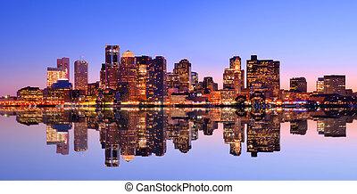 Boston Skyline - Financial District of Boston, Massachusetts...