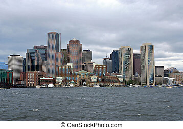 boston skyline from harbor - View of the boston skyline from...