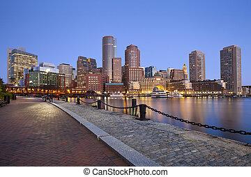 Boston Skyline. - Image of Boston city skyline at twilight.