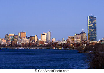 Boston skyline in dusk from Charles river