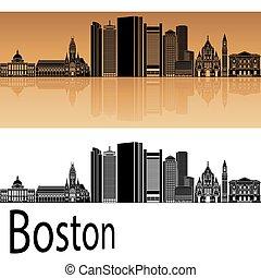 Boston skyline in orange