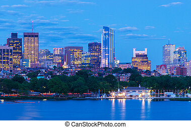 Boston skyline in the evening, Massachusetts, USA