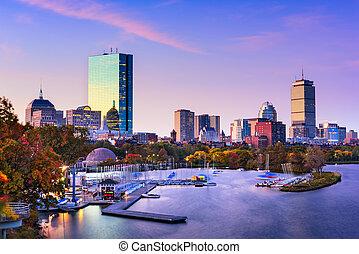 boston, skyline, massachusetts