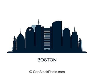 Boston skyline, monochrome silhouette.