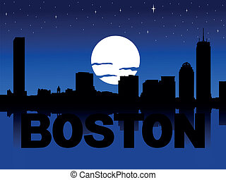 Boston skyline moon illustration - Boston skyline reflected...