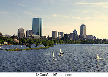 boston skyline over the charles - View of the boston skyline...