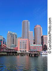 Boston skyline over water