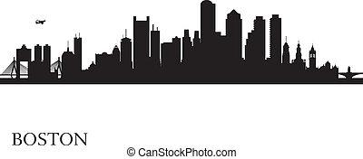 boston, skyline przedstawią w sylwecie, tło, miasto