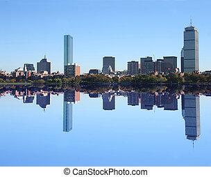 boston, skyline, reflektiert