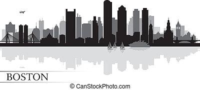 boston, skyline silhouette, hintergrund, stadt