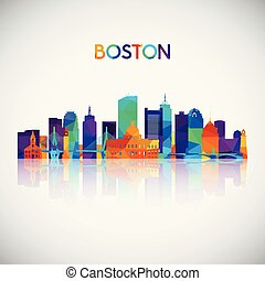 Boston skyline silhouette in colorful geometric style.