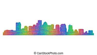 Boston skyline silhouette - multicolor line art