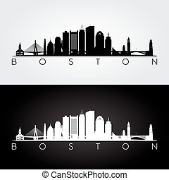 Boston skyline silhouette - Boston USA skyline and landmarks...