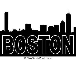 boston, skyline silhouette, weißes, schwarz