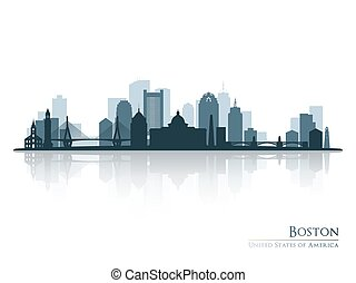 Boston, skyline silhouette with reflection.