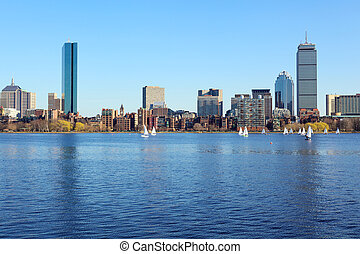Boston skyline from Cambridge over the Charles River,...