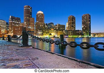 Boston Skyline Sunset from Fan Pier