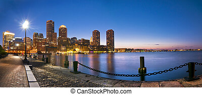Boston Skyline Sunset Panoramic from Fan Pier