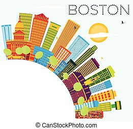 Boston Skyline with Color Buildings, Blue Sky and Copy Space.