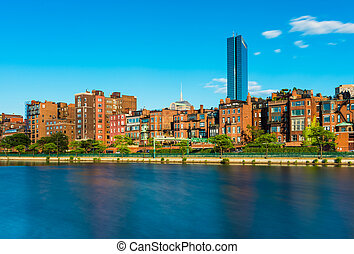 Boston skyline with historic buildings in Back Bay district, view from the Charles River