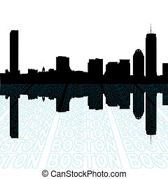 Boston skyline with perspective text outline foreground