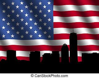 Boston skyline with rippled Flag - Boston skyline with...