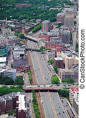 boston, stad, luchtmening