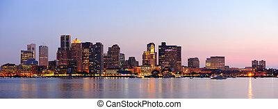boston, stadtzentrum, panorama, dämmerung