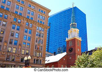 boston, stary, południe, spotkanie dom, historyczne umieszczenie