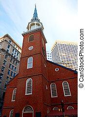 boston, stary, południe, spotkanie dom, massachusetts