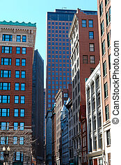 boston street - mixture of old and new buildings line street...