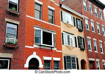 Boston street - Row of brick houses in Boston historical ...