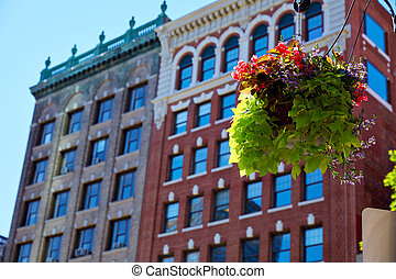 Boston streetlight flowers at Copley Square in Massachusetts...