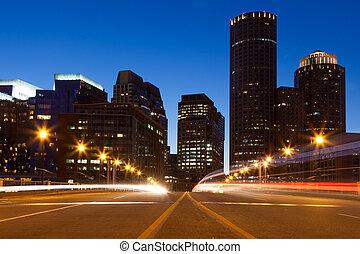 Boston streets by night