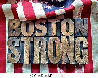 Boston Strong words on flag