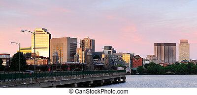 Boston sunset panorama with bridge