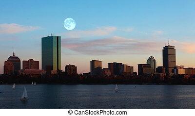 boston, sur, pleine lune