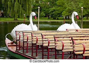Boston Swan Boats in Boston Public Garden