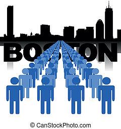 boston, sylwetka na tle nieba, ludzie