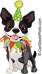 Boston Terrier Birthday - Illustration of cute Boston...
