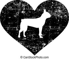 Boston Terrier in heart black and white