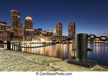 boston, tiro, noche