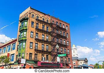Boston traditional brick wall building facades